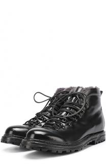 Высокие кожаные ботинки на шнуровке с внутренней меховой отделкой Officine Creative