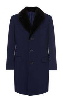 Кашемировое однобортное пальто с меховой отделкой воротника Canali