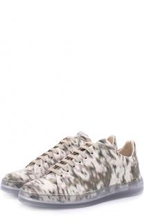 Кожаные кеды с принтом на шнуровке Giorgio Armani