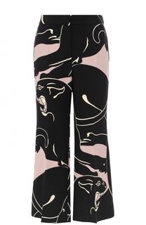 Расклешенные шелковые брюки с принтом Valentino
