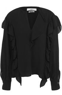 Блуза свободного кроя с оборками и V-образным вырезом Isabel Marant Etoile