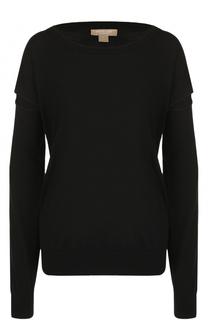 Шерстяной пуловер с круглым вырезом и разрезами на рукавах Michael Kors