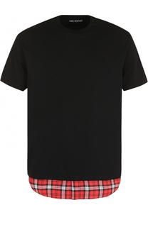 Хлопковая футболка с контрастной отделкой Neil Barrett