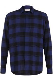 Хлопковая рубашка в клетку Saint Laurent