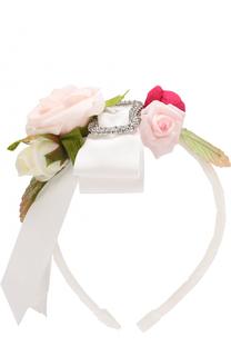 Ободок с цветами и бантом David Charles