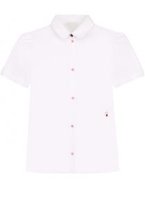 Хлопковая блуза с вышивкой и контрастными пуговицами Dolce & Gabbana