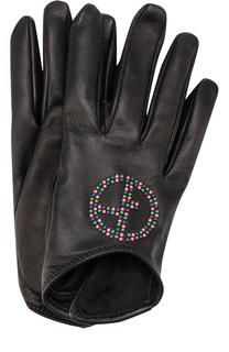 Кожаные перчатки с декоративной отделкой Giorgio Armani