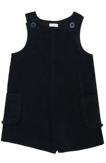 Хлопковый мини-комбинезон с накладными карманами и оборками Il Gufo