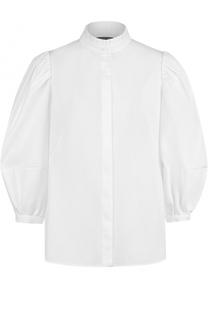 Блуза с воротником-стойкой и укороченным рукавом-фонарик Alexander McQueen