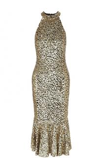Платье-миди с оборкой и пайетками Michael Kors
