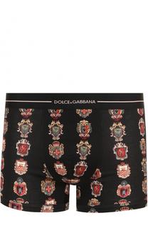 Хлопковые боксеры с принтом и широкой резинкой Dolce & Gabbana