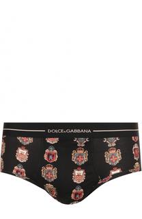 Хлопковые хипсы с принтом и широкой резинкой Dolce & Gabbana