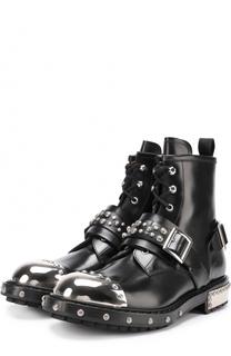 Высокие кожаные ботинки на шнуровке с металлической отделкой мыса Alexander McQueen
