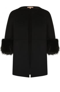Пальто прямого кроя с меховой отделкой рукавов Michael Kors
