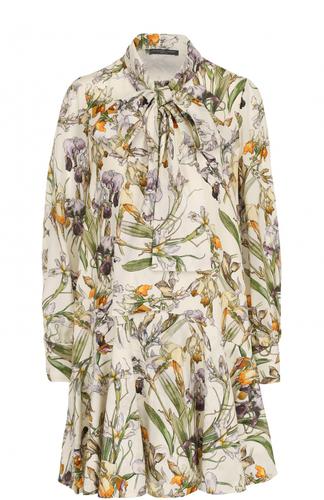 Шелковое платье свободного кроя с цветочным принтом Alexander McQueen