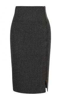 Шерстяная юбка-карандаш с разрезом на молнии Tom Ford