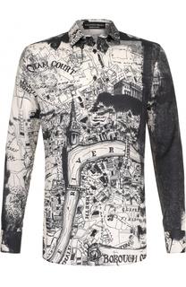 Рубашка из смеси хлопка и шелка с принтом Alexander McQueen