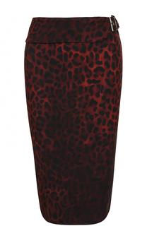 Юбка-карандаш с поясом и леопардовым принтом Tom Ford