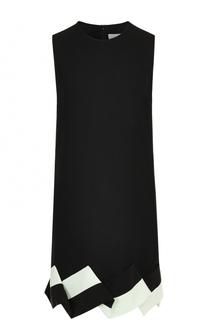 Мини-платье прямого кроя с контрастной оборкой Victoria by Victoria Beckham