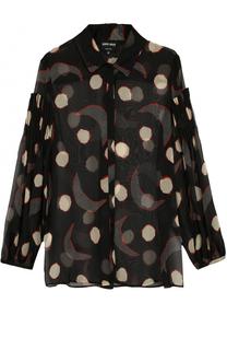 Полупрозрачная шелковая блуза с принтом Giorgio Armani
