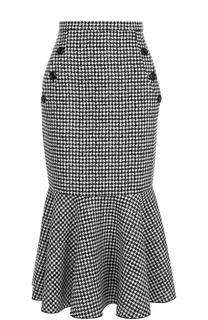 Шерстяная юбка годе с принтом гусиная лапка Michael Kors
