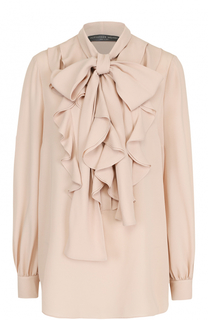 Шелковая блуза с оборками и воротником стойкой Alexander McQueen