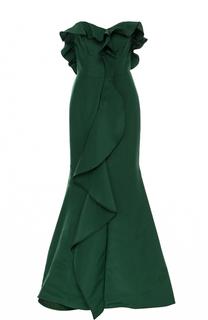 Шелковое платье-бюстье с подолом и оборками Oscar de la Renta
