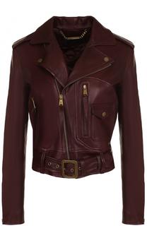Укороченная кожаная куртка с косой молнией Ralph Lauren