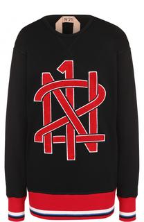 Свитшот свободного кроя с логотипом бренда No. 21