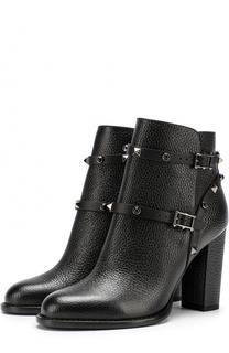Кожаные ботильоны Rockstud Rolling Noir на устойчивом каблуке Valentino