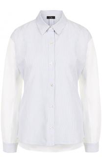 Хлопковая блуза свободного кроя в полоску Clu