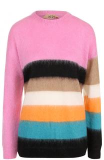 Вязаный пуловер в полоску с круглым вырезом No. 21