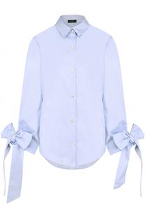 Хлопковая блуза свободного кроя с бантами на рукавах Clu
