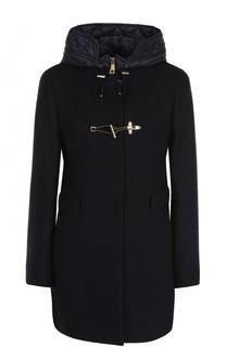Шерстяное пальто прямого кроя с пуховым капюшоном Fay