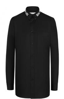 Хлопковая блуза прямого кроя с декорированным воротником Givenchy