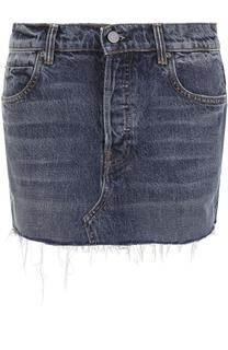 Джинсовая мини-юбка с потертостями Denim X Alexander Wang