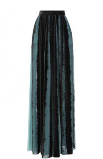 Бархатная юбка-макси с широким поясом Elie Saab