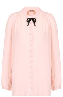 Блуза с контрастным бантом из бисера No. 21