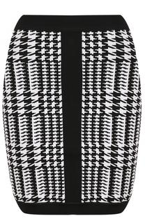 Облегающее мини-юбка с принтом Balmain