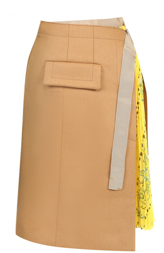 Юбка-миди с плиссированной принтованной вставкой Sacai