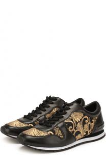 Кожаные кроссовки с парчовой вышивкой Tory Burch