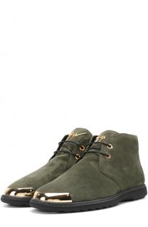 Замшевые ботинки на шнуровке с металлической отделкой мыса Giuseppe Zanotti Design