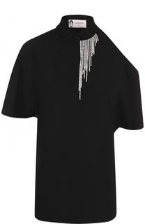 Топ с открытым плечом и декоративной отделкой Lanvin