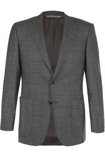 Шерстяной однобортный пиджак в клетку Canali