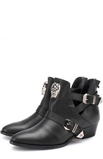 Кожаные ботинки с брошью Philipp Plein