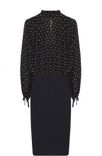 Приталенное платье с шелковым лифом с принтом DKNY