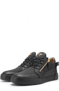Кожаные кеды на шнуровке с молниями Giuseppe Zanotti Design