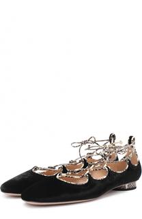 Бархатные балетки Corset на шнуровке Valentino
