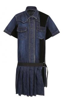 Джинсовое мини-платье с плиссированной юбкой Sacai