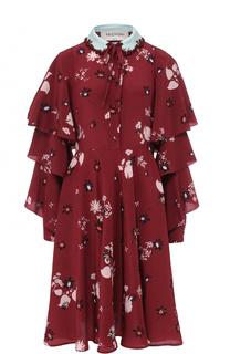 Шелковое платье с цветочным принтом и оборками Valentino
